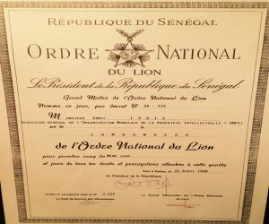 The President of the Republic of Senegal bestows upon me the National Order of Lion